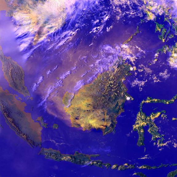 Smoke from fires in Indonesia can be seen in this satellite image